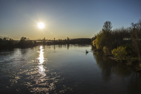 qui: Beautiful sunset, qui we see above the river Gardon in France Stock Photo