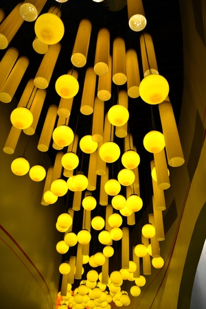 canister: Yellow canister light,circular lamp Stock Photo