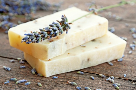 Home-made soap with lavender  Stock Photo