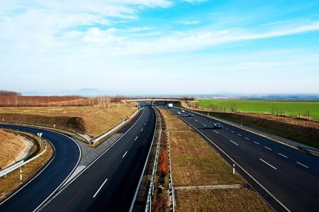 Four-lane motorway leads across the country at Lake Balaton,Hungary photo