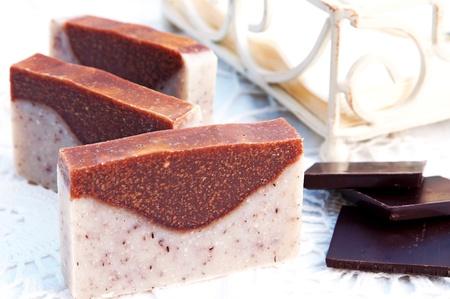 sandalwood: Home-made soap sandalwood and chocolat Stock Photo