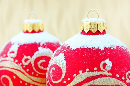 Christmas baubles with snow  photo