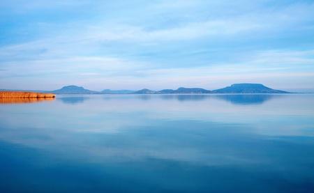 Lake Balaton and extinct volcanoes in sunset,Hungary