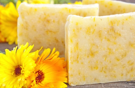 Home-made soap with marigold (Calendula officinalis)  Stock Photo