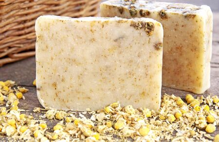 Home-made soap with chamomile  Stock Photo