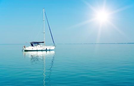 Sailboat in sunshine on Lake Balaton, Hungary  Stock Photo