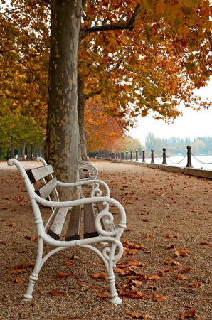 Promenade at Lake Balaton in autumn, Hungary (Balatonfüred)  Stock Photo