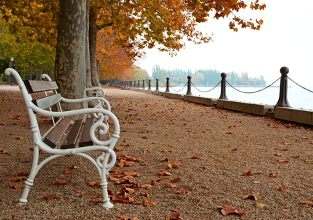Promenade at Lake Balaton in autumn, Hungary (Balatonfüred)  photo