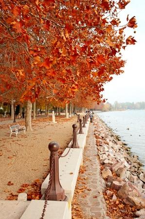 Beautiful promenade at Lake Balaton in autumn, Hungary (Balatonfüred)