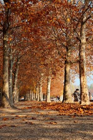 Autumn promenade at Lake Balaton, Hungary (Balatonf�red)  Stock Photo