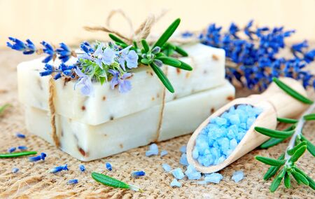Natural soap, herbs and bath salt  photo