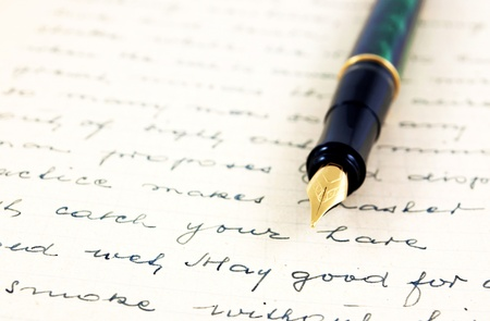 Old letter with fountain pen  Stock Photo