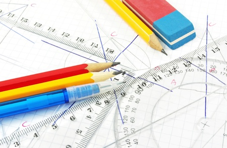 Geometry equipment for children in school  Stock Photo