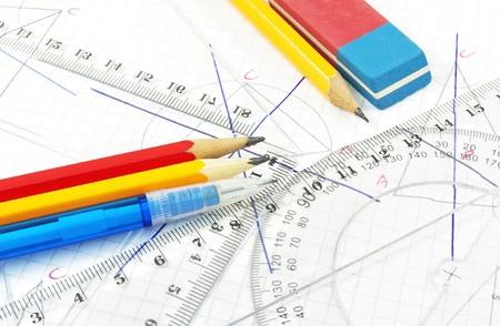 Geometry equipment for children in school  Stock Photo