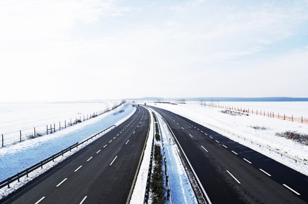 Four-lane highway in winter at Lake Balaton, Hungary