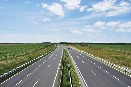 Four-lane motorway leads across the country at Lake Balaton  Stock Photo