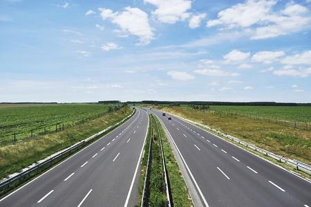 Four-lane motorway leads across the country at Lake Balaton  Stock Photo