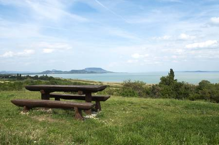 Beautiful panorama to Lake Balaton and extinct volcanoes  Stock Photo