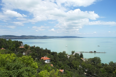 Beautiful panorama from Tihany peninsula on Lake Balaton