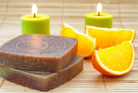Hand-made soap with orange Stock Photo - 12209642