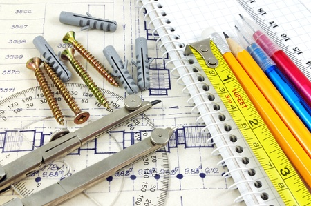 Blueprint and geometry equipment still life  Stock Photo