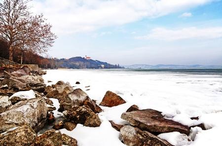 Lake Balaton in winter time,Tihany,Hungary  Stock Photo