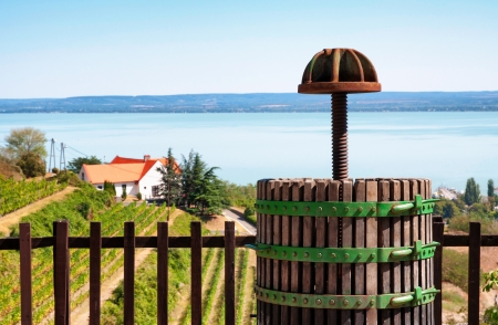 winepress: Wine-press at Lake Balaton,Hungary Stock Photo
