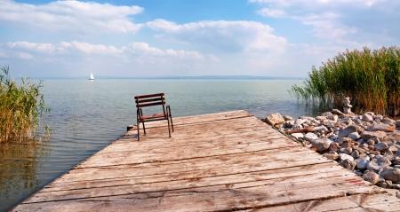 Old angler pier,at Lake Balaton,Hungary