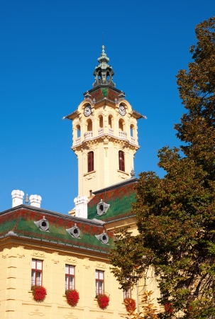 szeged: Tower-clock of town hall in Szeged,Hungary  Stock Photo