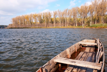 Flat boats on the backwater,Hungary