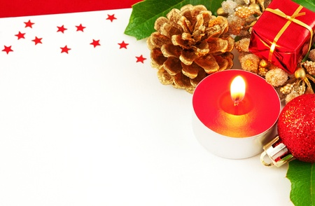Christmas card with candle Stock Photo - 16755547