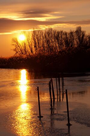 Sunset at Lake Balaton in winter time,Hungary Stock Photo - 16851079