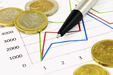 fails: Business diagram and euro coins Stock Photo