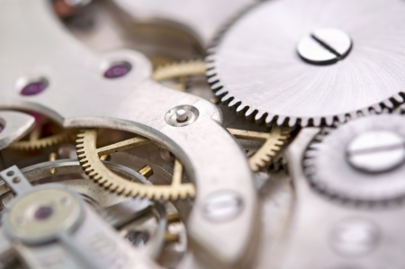 The mechanism of an old watch close-up Stock Photo - 18385416
