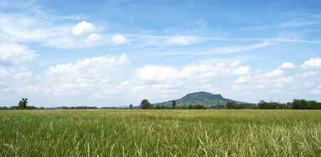 Green meadow and volcano,Hungary photo