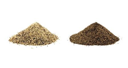 on white pepper: Ground white pepper and black pepper isolated