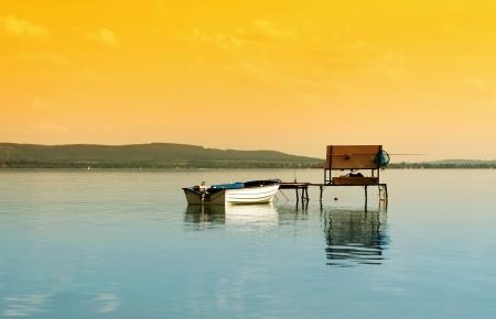Angler pier at Lake Balaton, Hungary  Stock Photo