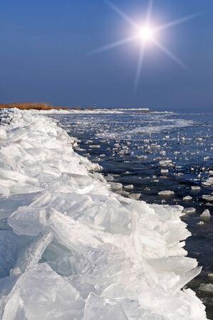 Lake Balaton in winter time, Hungary Stock Photo - 24946717