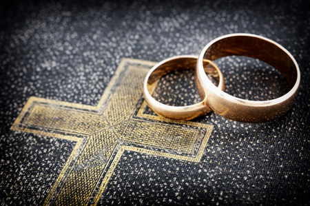christian cross: Marriage  macro photo   Stock Photo