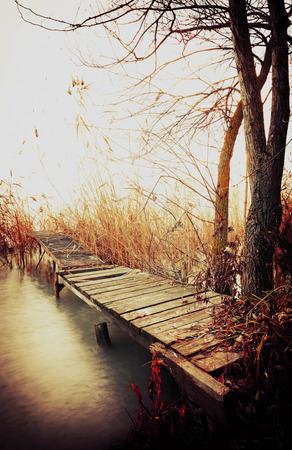 Angler pier in autumn time at Lake Balaton, Hungary