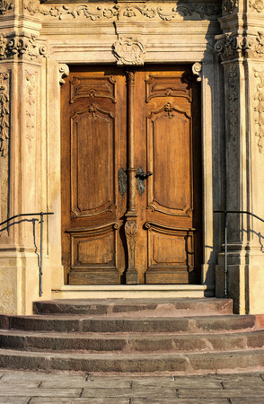 woodenrn: Old decorated door of Benedictine Abbey in Tihany, Hungary Stock Photo