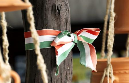 Hungarian nationals colors ribbon Stock Photo