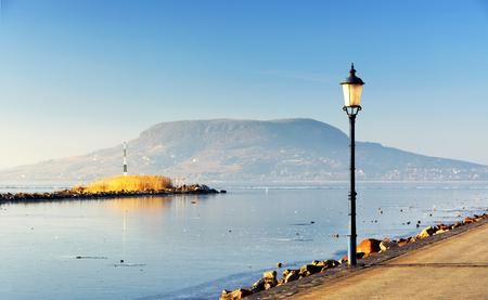 Landscape of Lake Balaton in winter time ( Fonyod ), Hungary