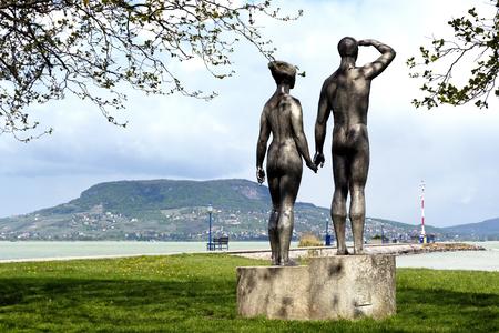 Couple sculpture at Lake Balaton (Fonyod) in April 2017, Hungary