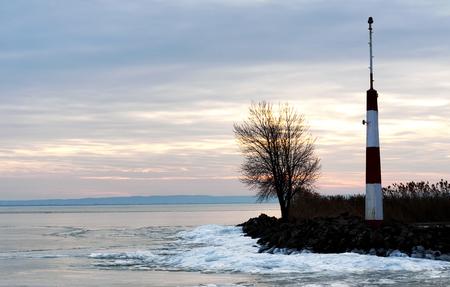 Breakwater at Lake Balaton in winter time, Hungary (Badacsony) Stock Photo
