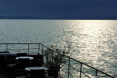 Detail of restaurant at Lake Balaton, Hungary (Balatonfoldvar) Stock Photo