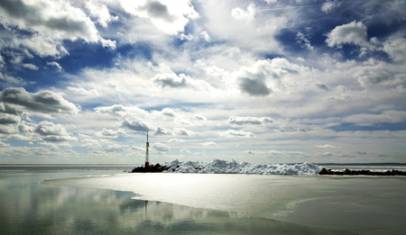 Lake Balaton in winter time, Hungary (Szigliget) Standard-Bild