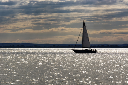 Sailing ship on Lake Balaton, Hungary Standard-Bild