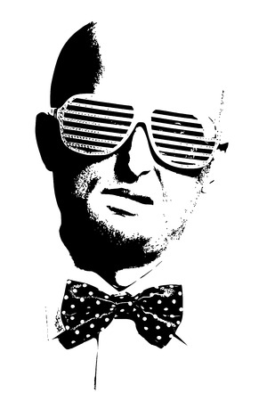bald man: bald man in fashion glasses with bow-tie in black and white illustration style