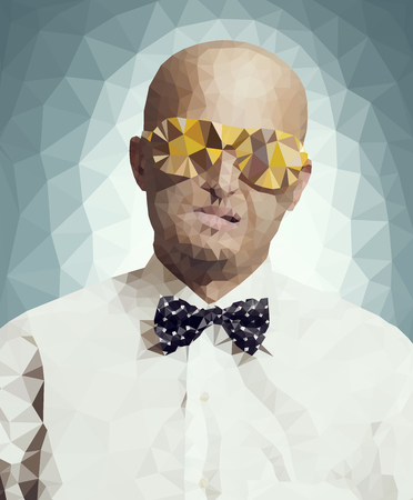 bald spot: polygonal illustration of bald man in fashion glasses and in white shirt with bow-tie Illustration